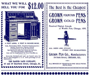 Ads for Desk and Pens - 1897