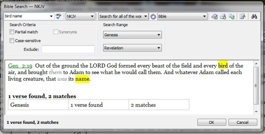 Bible Search - bird name