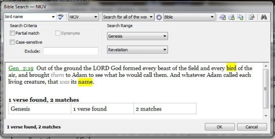 Bible Search - bird name