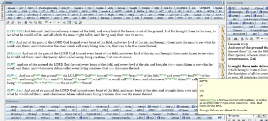 Compare of Genesis 2:19 with Hebrew 5775 for fowl open.