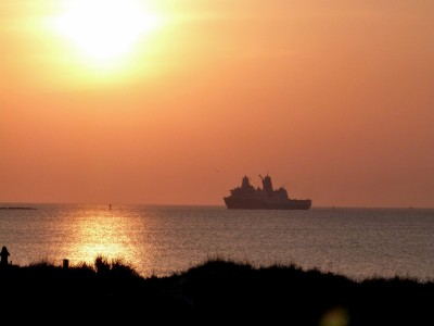 Sunrise and USS New York at Mayport