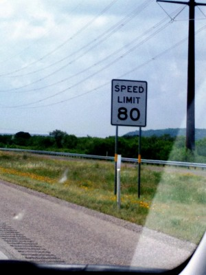 West Texas Speed Limit sign from phone camera 5-7-15