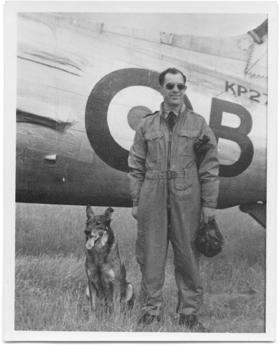"WWII pilot Václav ""Robert"" Bozdĕch --- and his faithful dog, Antis"