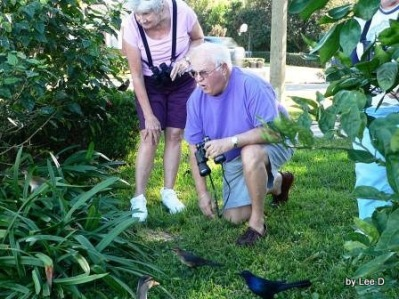 Jim and Phyllis Looking at Baby Gallinule at Lake Hollingsworth