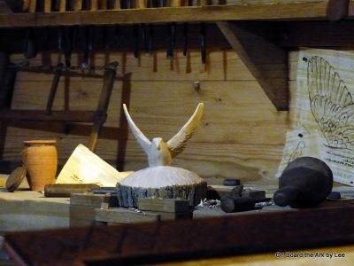 Bird being carved in Workshop