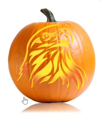 Eagle on Pumpkin - Stencil
